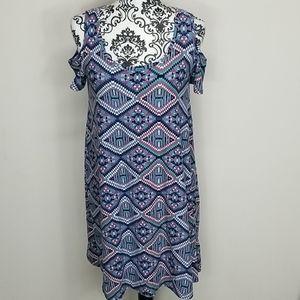 Planet Gold Medium Cold-shoulder Aztec print Dress